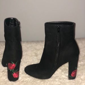 Faux-Suede Booties w/ 🌹detail